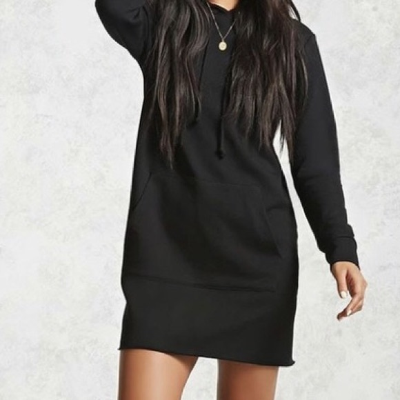 Forever 21 Dresses & Skirts - Forever 21 Black Long Sleeve Hoodie Mini Dress